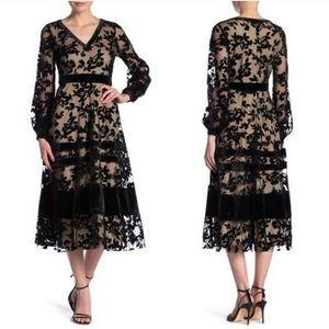 Neiman Marcus Sheer Lace Long Sleeve Maxi Dress